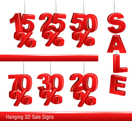 sale signs hanging on the string Vector