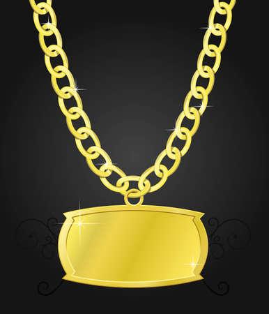 cadenas: conjunto de la cadena de oro y la placa de