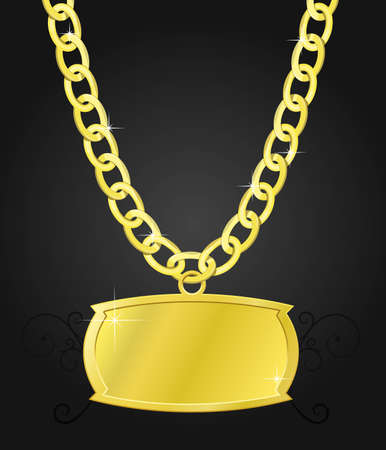 gold set of chain and the plaque