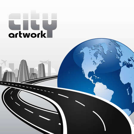 arte callejero: ciudad abstracta de negocios internacionales Vectores