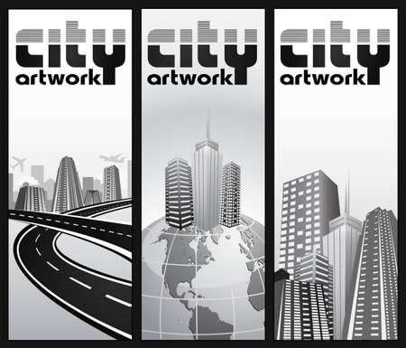 set of vertical city banners Illustration