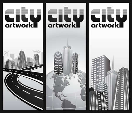 set of vertical city banners Illustration