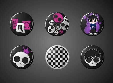 emo: set van emo badges  Stock Illustratie