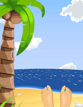 summer vacation illustration. Person lying on the beach enjoying the sunny day Vector