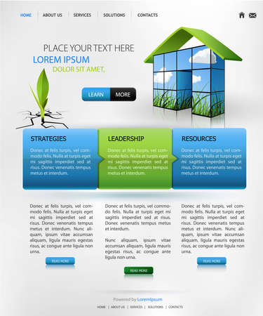 page layout: web design template for business website