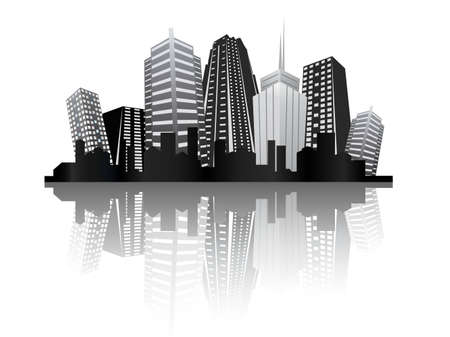 hip hop silhouette: abstract city design Illustration