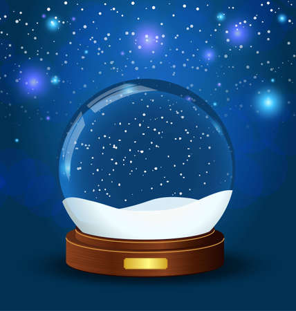 realistic snow globe with wooden texture