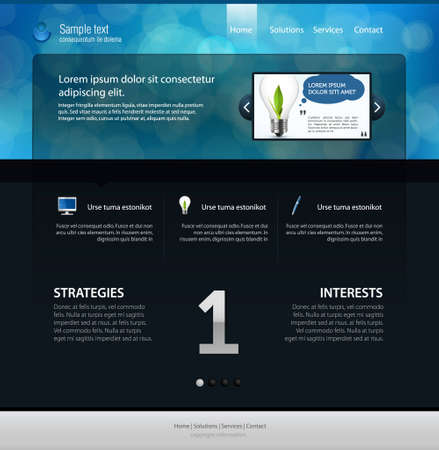 web page layout, dark version Illustration