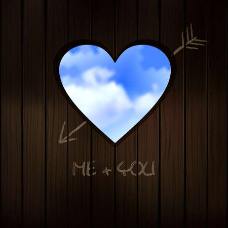 heart shape cut into wooden door with scribble writing of love Illustration