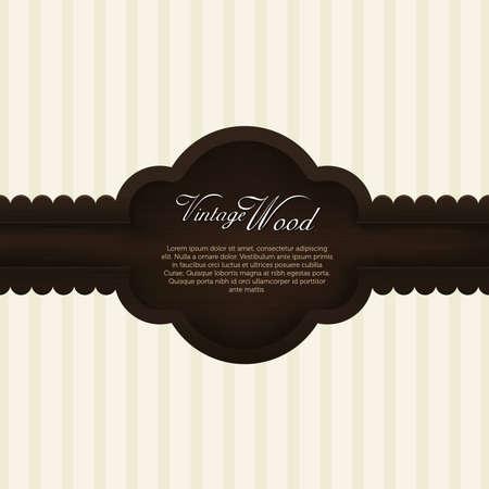 sticker label: elegant wood vintage frame