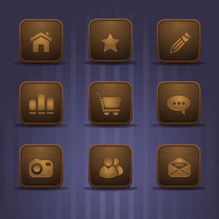 set of realistic wooden icons, part 1 Vector