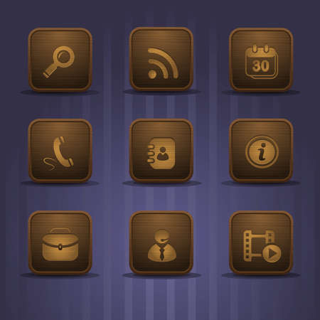 set of wooden relistic icons, part 2 Vector
