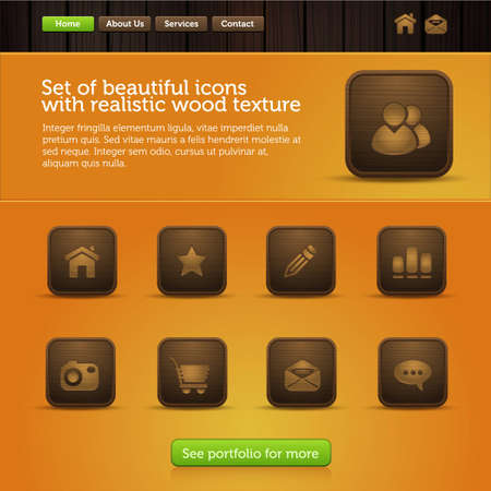 web site interface with original icons, in the form of sliding galleries Illustration