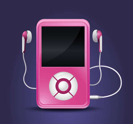 portable audio: modern mp3 player with earphones