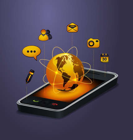 telecom: mobile communication concept Illustration
