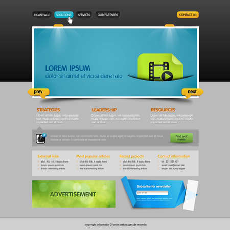 web site design template: brilliant slider situated on the web page
