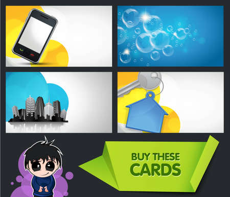 smart card: set of modern business cards with extra bonus elements