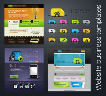 web design set +bonus icons Vector