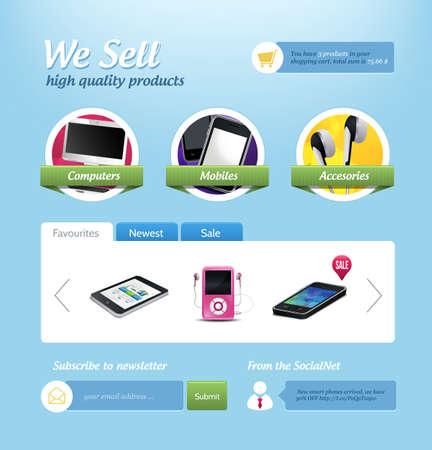 mini e-commerce website template Stock Vector - 15700567