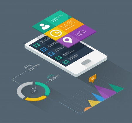 평면 색상과 아이소 메트릭 디자인의 모바일 애플리케이션 개념