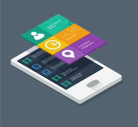 touch screen interface: mobile phone infographics in flat color design