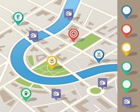 city map illustration with location pins Vector