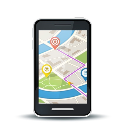 mobile phone with gps map application Illustration