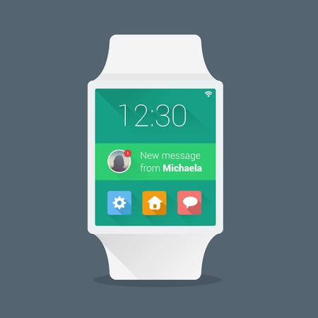 wrist watch: Smart watch concept with simple user interface made in flat color design