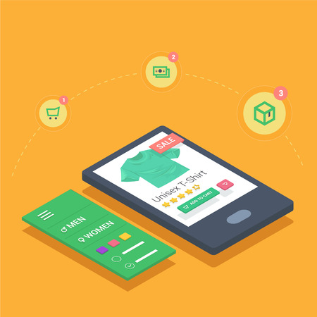 checkout line: mobile shopping with smarthone responsive online shop