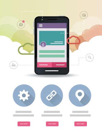Cloud Mobile Application Web page Vector