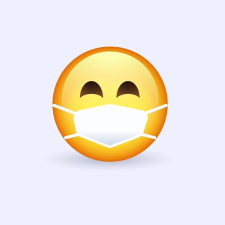 Face with medical mask emoji. Protect yourself with hygienic mask in the time of epidemic desease.