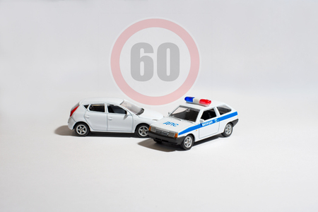 the police car stopped the car of the offender side view Stock Photo