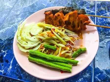 style: Delicious Thai food style papaya salad spicy mixed Stock Photo