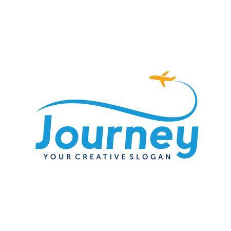 Travel, Trip, Journey, holiday, flight, airplane Logo Vector