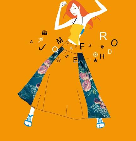 indian teenager: Dancing woman Illustration