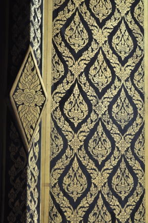 Thai traditional pattern paint on door