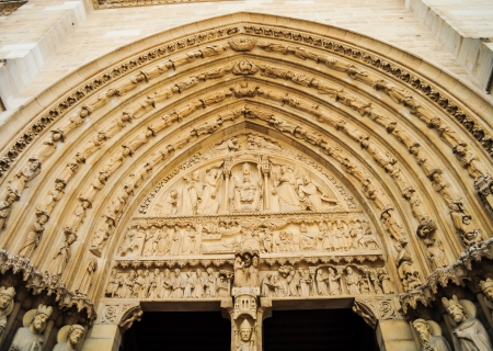 The entrance of Notre Dame Cathedral is decorated with many of sculptures  photo