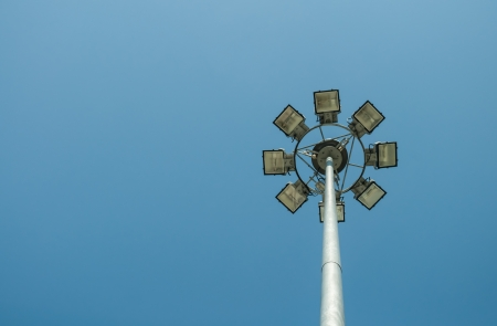 The street lamp post with multi-spot light lamps. Stock Photo