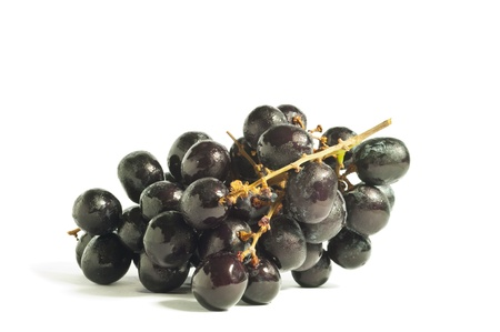 Black grape on the white background photo