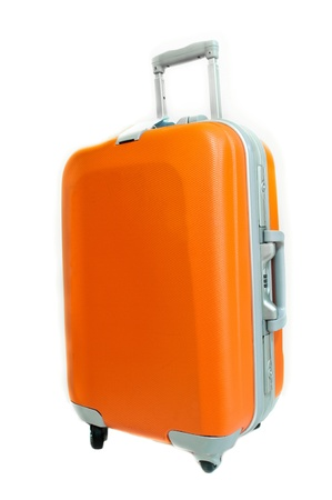 trip travel: The orange suitcase isolated on white background