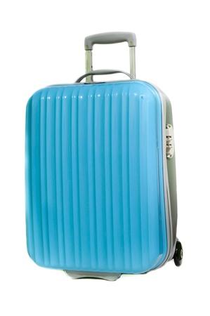 The blue suitcase isolated on white background