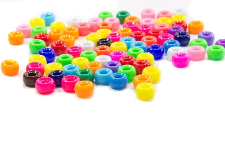 The colorful beads isolated on white background Stock Photo