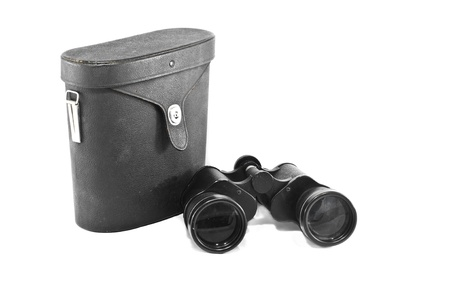 The binocular with case isolated on white background photo