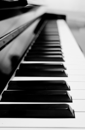The closeup of piano key in black and white