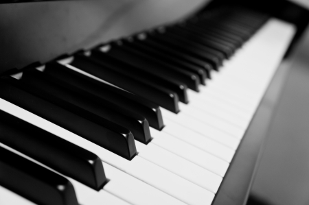 The closeup of piano key in black and white  photo