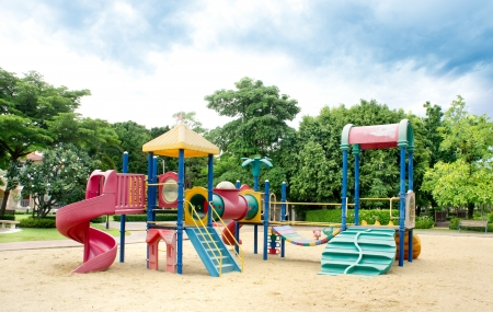 area: The children outdoor playground in a park