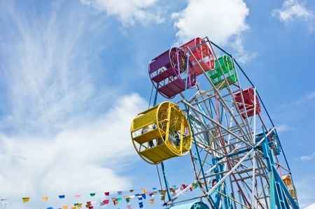 big wheel: the colorful ferris wheel with blue sky background