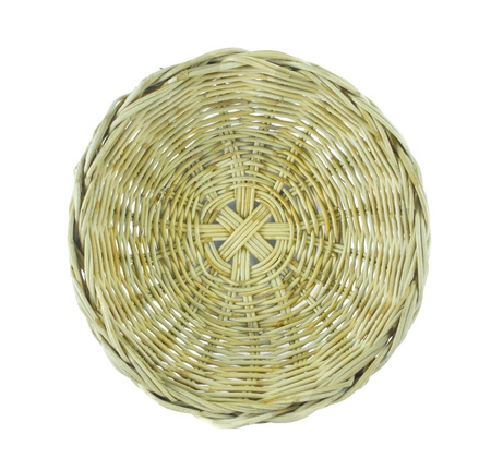 An empty wood basket isolated on white background photo