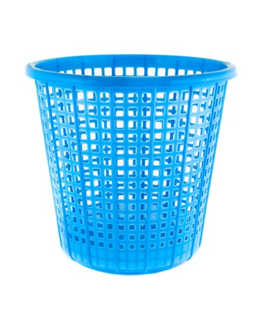 The blue plastic basket isolated on white background photo