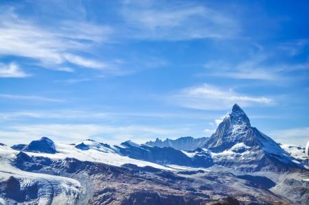 Matterhorn peak with blue sky background, Zermatt, Switzerland Stock Photo